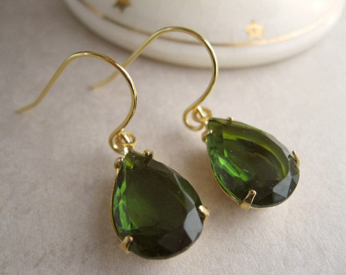 Olive Green and Gold Crystal Drop Earrings Vintage Rhinestones Glam Wedding Jewelry Fall/Autumn Olivine Choose your Finish