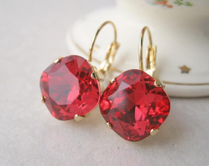 Scarlet Red Crystal Drop Earrings Christmas Jewelry Rhinestone Earrings Christmas Wedding Swarovski Crystals Cushion Choose your Metal