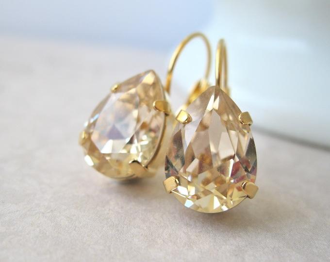 "Gold Teardrop Bridesmaid Earrings Light Topaz Swarovski Crystal ""Light Silk"" Art Deco Style Bridal Jewelry Leverbacks Choose your Metal"