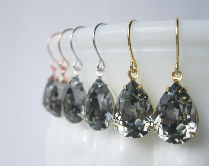 Dark Grey Teardrop Earrings Silver Plated Settings Vintage Style Bridal Earrings Swarovski Crystals Black Diamond Choice of Settings