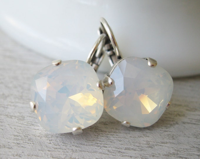 White Opal Earrings, Bridesmaid Earrings Wedding Jewelry Antique Silver Milky White Bridal Earrings White Drop Earrings Swarovski Elements