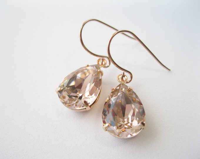 Blush and Rose Gold Crystal Bridesmaid Earrings Teardrop Dangles Art Deco Vintage Style Blush Wedding Jewelry Choice of Metal