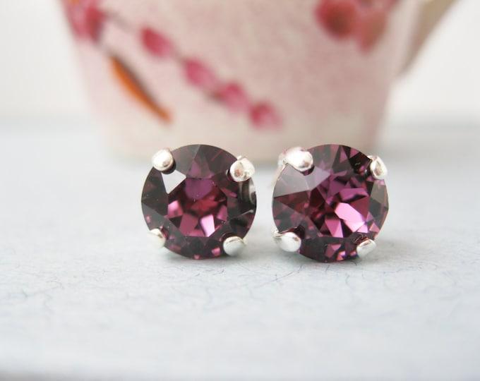 Purple Stud Earrings Swarovski Elements Amethyst Rhinestone Post Earrings Bridesmaid Earrings Wedding Jewelry Silver Plated FEBRUARY
