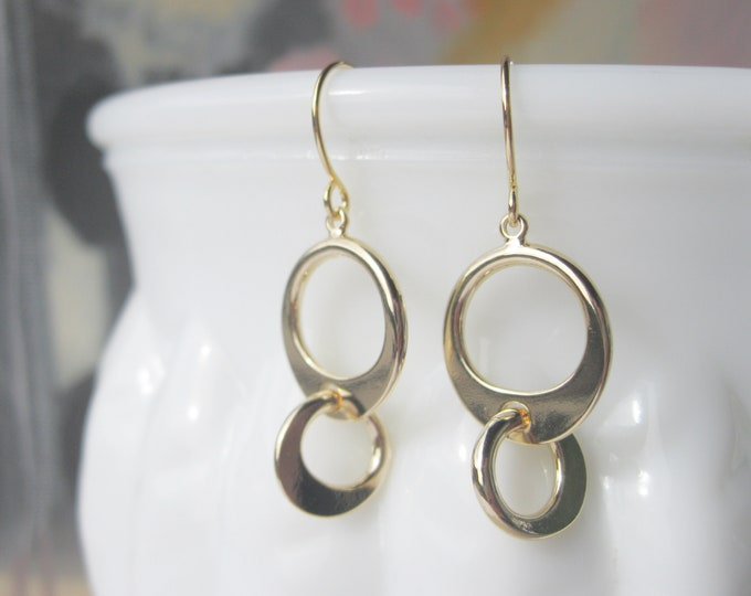 Modern Circles Drop Earrings Gold Plated with French Hooks Geometric Minimalist Design Jewelry Everyday Earrings