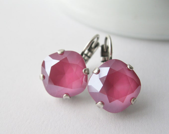 Peony Pink Drop Earrings Swarovski Crystals Spring Prom Jewelry Fuchsia Earrings Spring Wedding Pink Bridesmaid Earrings