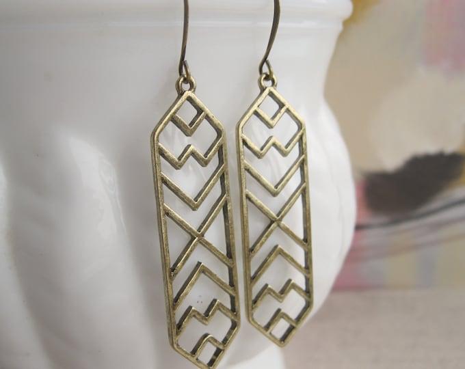 Boho Drop Earrings Antique Brass Bronze Geometric Earrings Everyday Jewellery Nickel Free