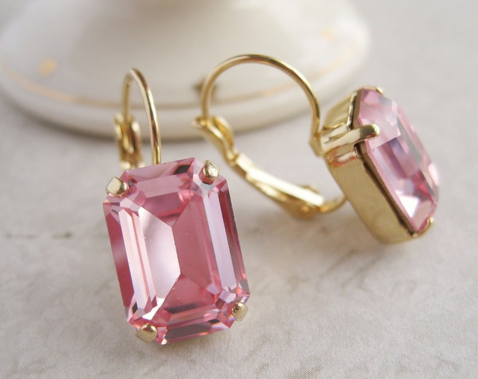 Princess Pink Crystal Drop Earrings set in Gold Plated Settings Vintage Emerald Cut Swarovski Light Pink Crystals Art Deco Style