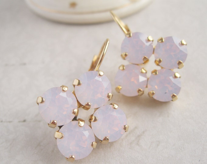 Pink Opal Crystal Drop Earrings Bridesmaid Earrings Pink Wedding Jewelry Gold Plated Leverback Nickel free Swarovski Crystals Valentine Day