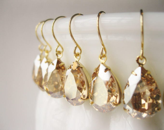 SET of 7 pairs Champagne Gold Bridesmaid Earrings Vintage Style Teardrop Earrings New Years Eve Wedding Swarovski Crystal Golden Shadow
