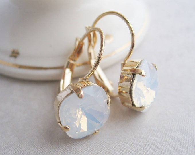 White Opal and Gold Plated Crystal Bridesmaid Earrings Swarovski Elements Nickel Free Choose your Metal