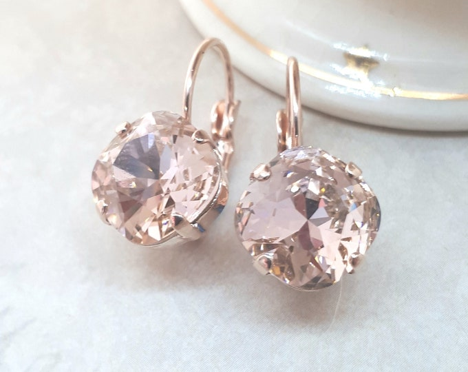 Rose Gold Blush Earrings Bridesmaid Jewelry Blush Wedding Vintage style Swarovski Elements Vintage Rose