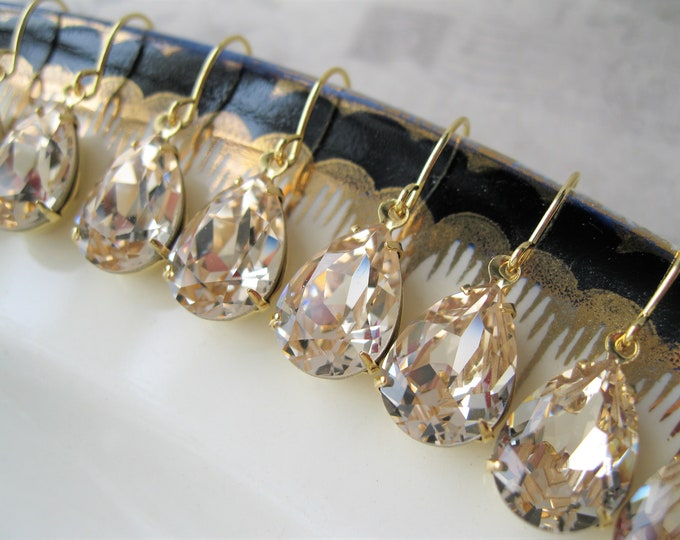 Set of 6 pairs Gold Plated Light Champagne Bridesmaid Earrings Vintage Art Deco Style Wedding Jewelry Light Silk Earrings Swarovski Elements