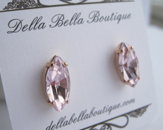 Light Pink and Rose Gold Stud Earrings Swarovski Crystals Rosaline Navette Bridesmaid Jewelry Choice of Metal Finish