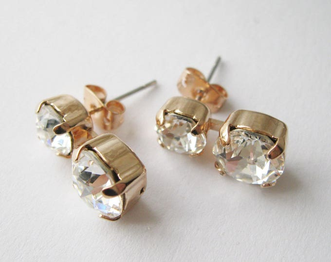 Rose Gold and Crystal Stud Earrings Drop Earrings Bridesmaid Jewelry Vintage Style Glamour Swarovski Elements Rose Gold Wedding
