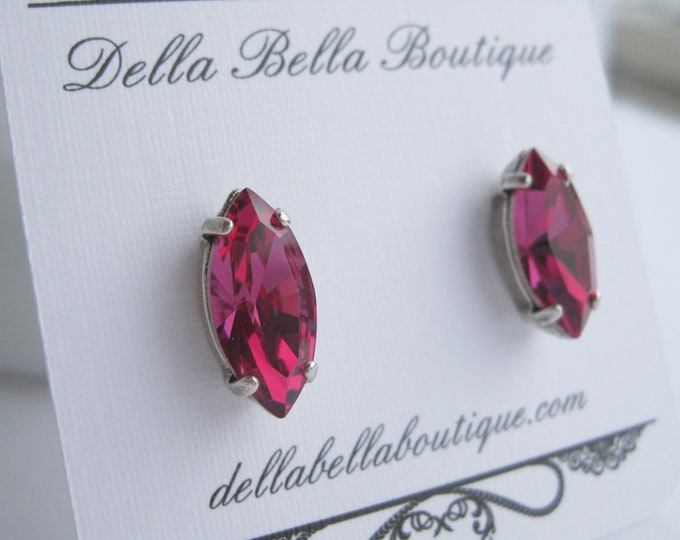 Fuchsia Pink and Antique Silver Stud Earrings Swarovski Crystals Navette Bridesmaid Jewelry Choice of Metal Finish