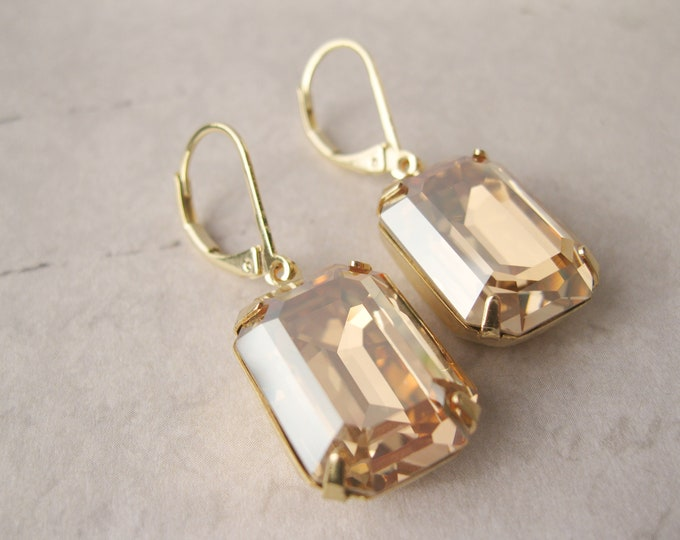 Large Champagne Crystal Drop Earrings Golden Shadow Art Deco Jewelry Gold Plated New Years Eve Fall Wedding Jewelry Vintage Style Glam