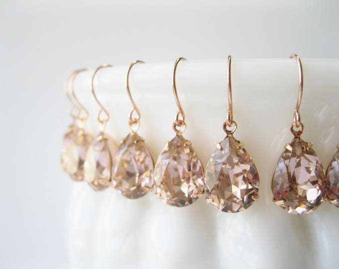 Set of 7 pairs Blush and Rose Gold Crystal Bridesmaid Earrings Teardrop Dangles Art Deco Vintage Style Blush Wedding Jewelry Choice of Metal