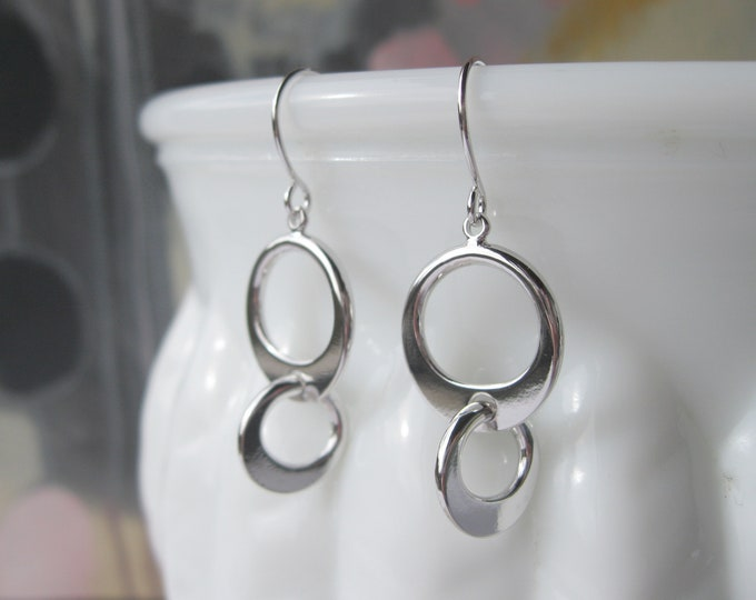 Modern Circles Drop Earrings Silver Plated with French Hooks Geometric Minimalist Design Jewelry