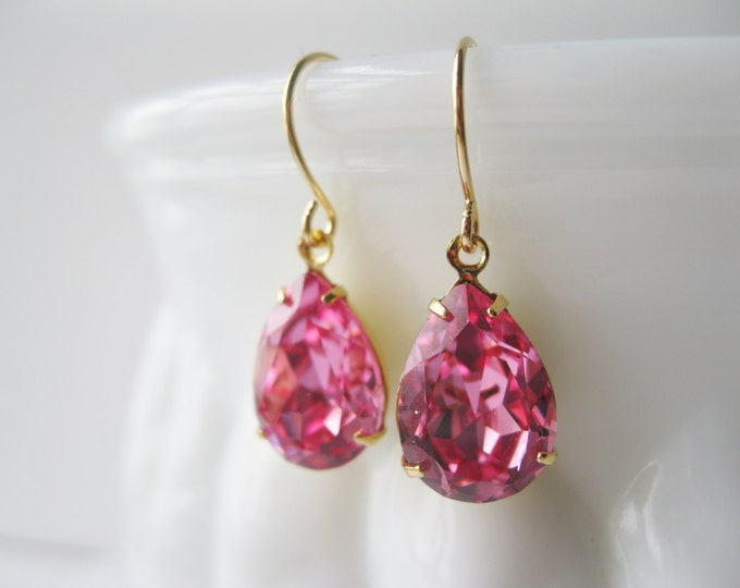Pink and Gold Crystal Drop Earrings Bridesmaid Jewelry Pink Wedding Spring Summer Swarovski Elements Rose Prom Jewellery