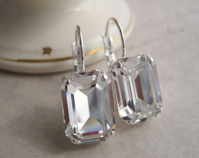 Glam Wedding Jewelry Crystal Rhinestone Drop Earrings Emerald Cut Octagon Set in Silver Plated Settings Nickel free