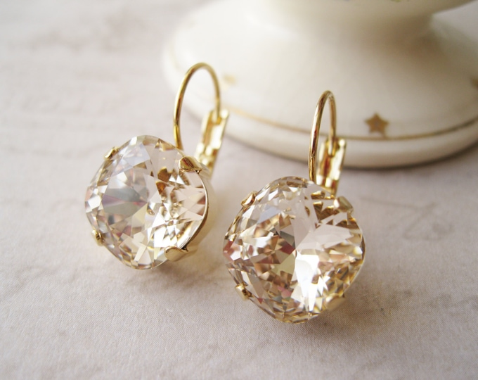 """Light Champagne Nude Crystal Rhinestone Earrings Bridesmaid Earrings Gold Plated """"light silk"""" Jewelry Vintage Style"""