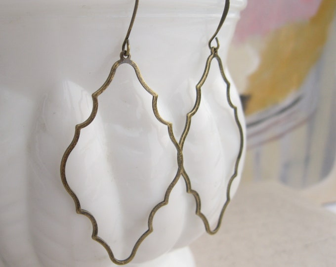Antique Brass Boho Drop Earrings Long Lightweight Dangles Vintage Style Moroccan Style Everyday Earrings Nickel free