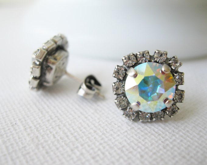 Aurora Borealis Crystal Stud Earrings Rainbow Jewelry Bridesmaid Earrings Swarovski Elements Choose your Metal