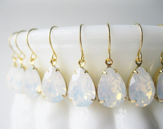 Set of 7 pairs Bridesmaid Earrings White Opal Gold Plated  Swarovski Crystal Teardrop Earrings White Wedding Bridal Sets
