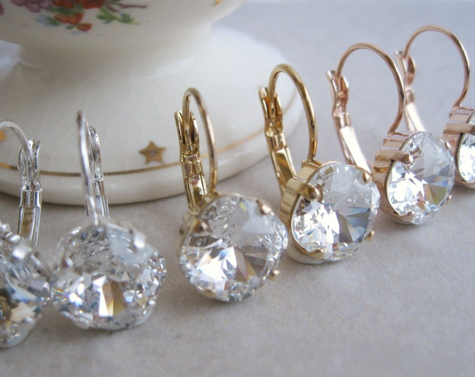 Simple Crystal Drop Earrings Choice of Metal Silver Plated | Rose Gold Plated | Yellow Gold Plated | Bridesmaid Jewelry Glam Wedding
