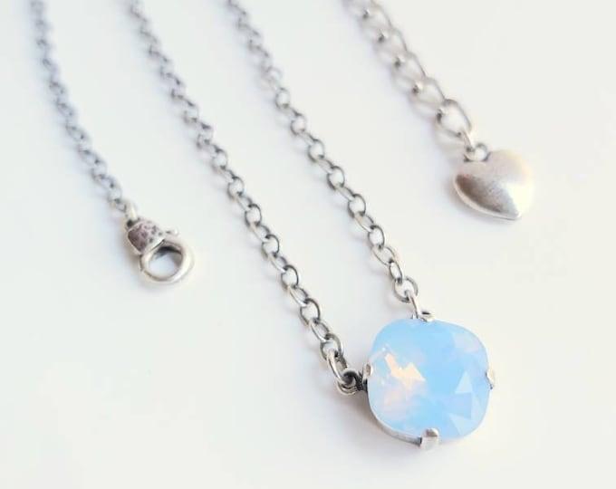 Dreamy Blue Opal Necklace set in Antique Silver Swarovski Crystal Simple Modern Minimalist Style Summer Jewelry