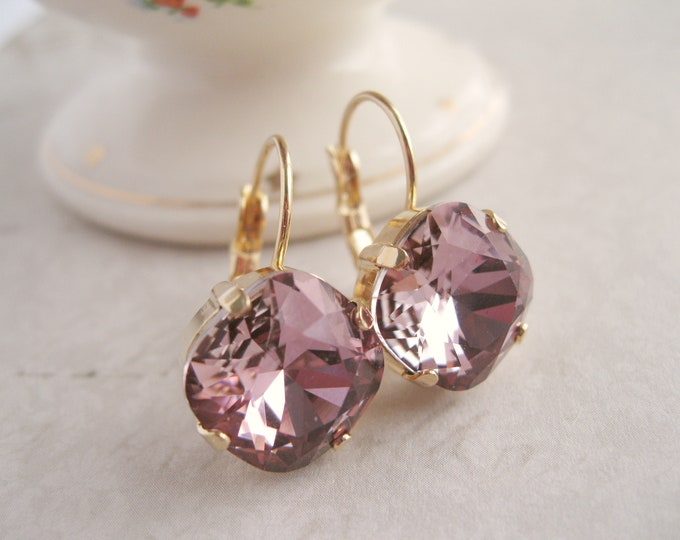 Mauve and Gold plated Crystal Drop Earrings Purple Pink Swarovski Antique Pink Bridesmaid Earrings Wedding Jewelry Choice of Settings