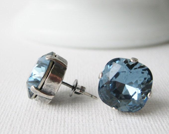 XL Denim Blue Stud Earrings Everyday Earrings Antique Silver Swarovski Crystals