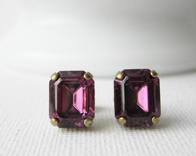 Amethyst Purple Post Earrings, Rhinestone Studs, Purple Wedding Jewellery, Bridesmaid, Vintage Swarovski Elements, Antique Brass, Jewel Tone