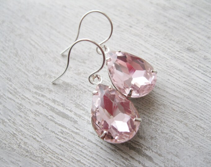 Light Pink Teardrop Earrings, Bridesmaid Earrings, Pink Wedding, Silver Plated, Summer Bridal Jewellery, Baby Pink, Old Hollywood Glam, Prom
