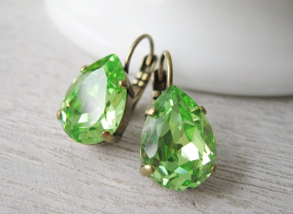 Light Green Drop Earrings Woodland Wedding Bridal Jewelry Bridesmaid Earrings Teardrop Rhinestone Swarovski Elements Peridot Nickel free