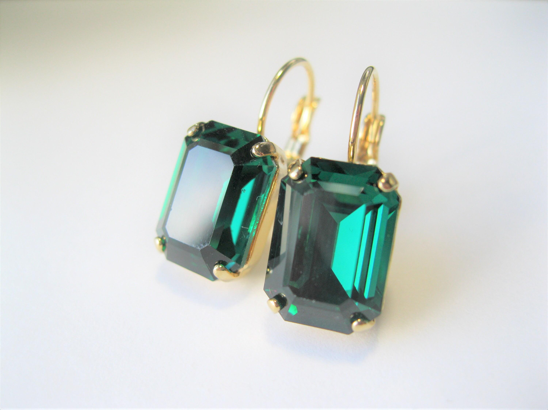 7c4bec6be6bcf Emerald Green Crystal Earrings Christmas Jewelry Vintage Swarovski ...