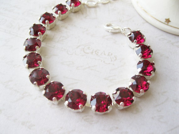 Red Crystal Tennis Bracelet Rhinestone Swarovski Elements Ruby Christmas Wedding Bridesmaid Jewellery Adjustable