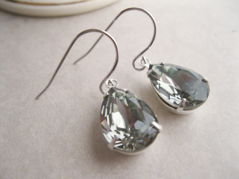 43d324479 Black Diamond Teardrop Earrings Silver Plated Settings Vintage Style Bridal Earrings  Swarovski Crystals Dark Grey Wedding Jewelry