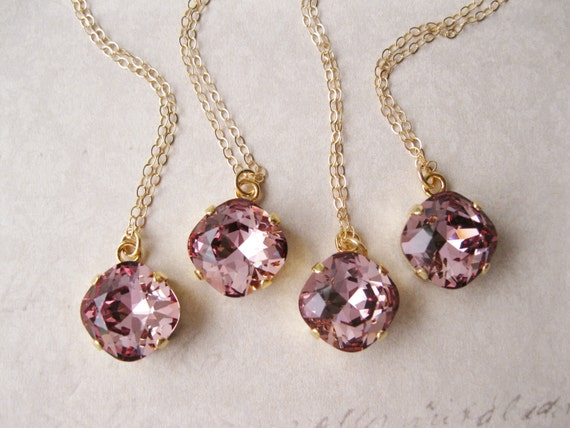 Set of 4 Mauve Crystal Necklace Gold Vermeil Bridesmaid Jewelry Summer Wedding Swarovski Elements Antique Pink Vintage Style Bridal