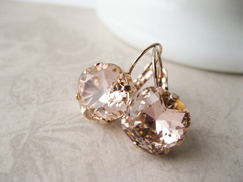 Blush and Rose Gold Bridesmaid Earrings Swarovski Crystal. 10 Romantic Tranquil Pink Paint Colors & Pretty Finds!