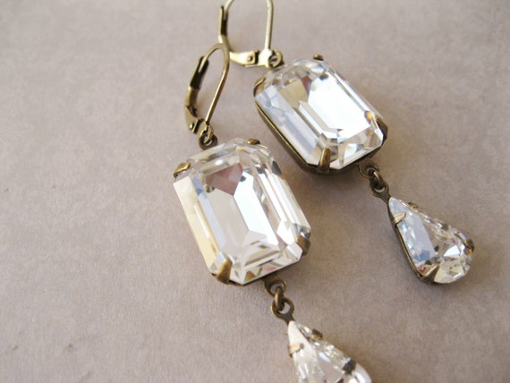 Crystal Wedding Earrings New Years Eve Wedding Art Deco Style Jewellery 1920s style Old Hollywood Antique Brass Swarovski Elements