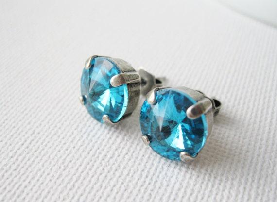 Turquoise Stud Earrings Modern Aqua Studs Post Earrings Beach Jewellery Bridesmaid Earrings Beach Wedding Classic Rhinestone Studs