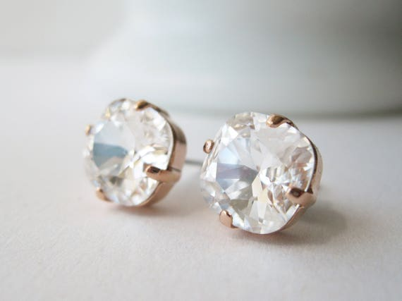 Rose Gold and Crystal Stud Earrings Cushion Cut Bridal Jewelry Simple Minimalist For the Bride