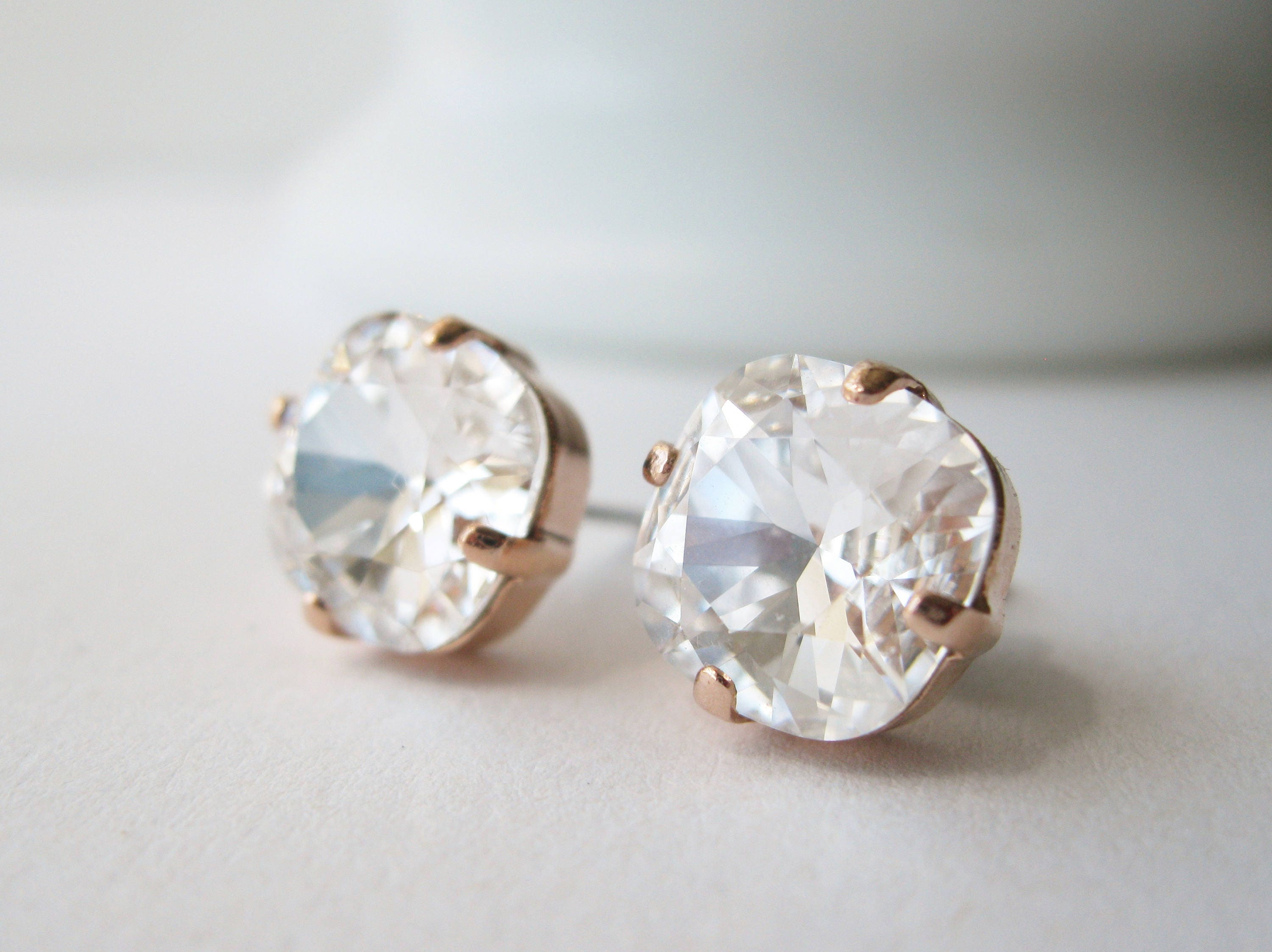 Rose Gold And Crystal Stud Earrings Cushion Cut Bridal Jewelry