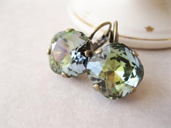 Rustic Crystal Rhinestone Earrings Earth tones Fall / Autumn Jewelry Bridal Drop Earrings Brown Green Blue Swarovski Elements Tabac