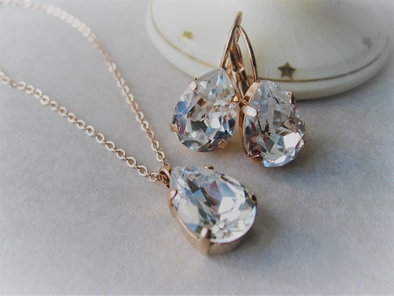 Rose Gold and Crystal Bridesmaid Set Necklace and Drop Earrings Art Deco Wedding Vintage Style Crystal Jewellery Gift for Bridesmaid