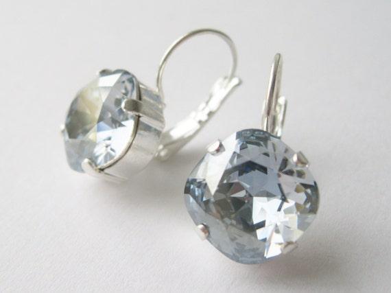 Blue Grey Crystal Rhinestone Drop Earrings Bridesmaid Jewelry Vintage Hollywood Style Wedding Jewellery Swarovski Elements Blue Shade