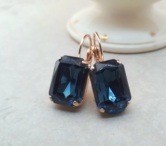 Navy Blue and Rose Gold Drop Earring Navy Wedding Dark Blue Bridesmaid Earring Vintage Style Crystal Earrings
