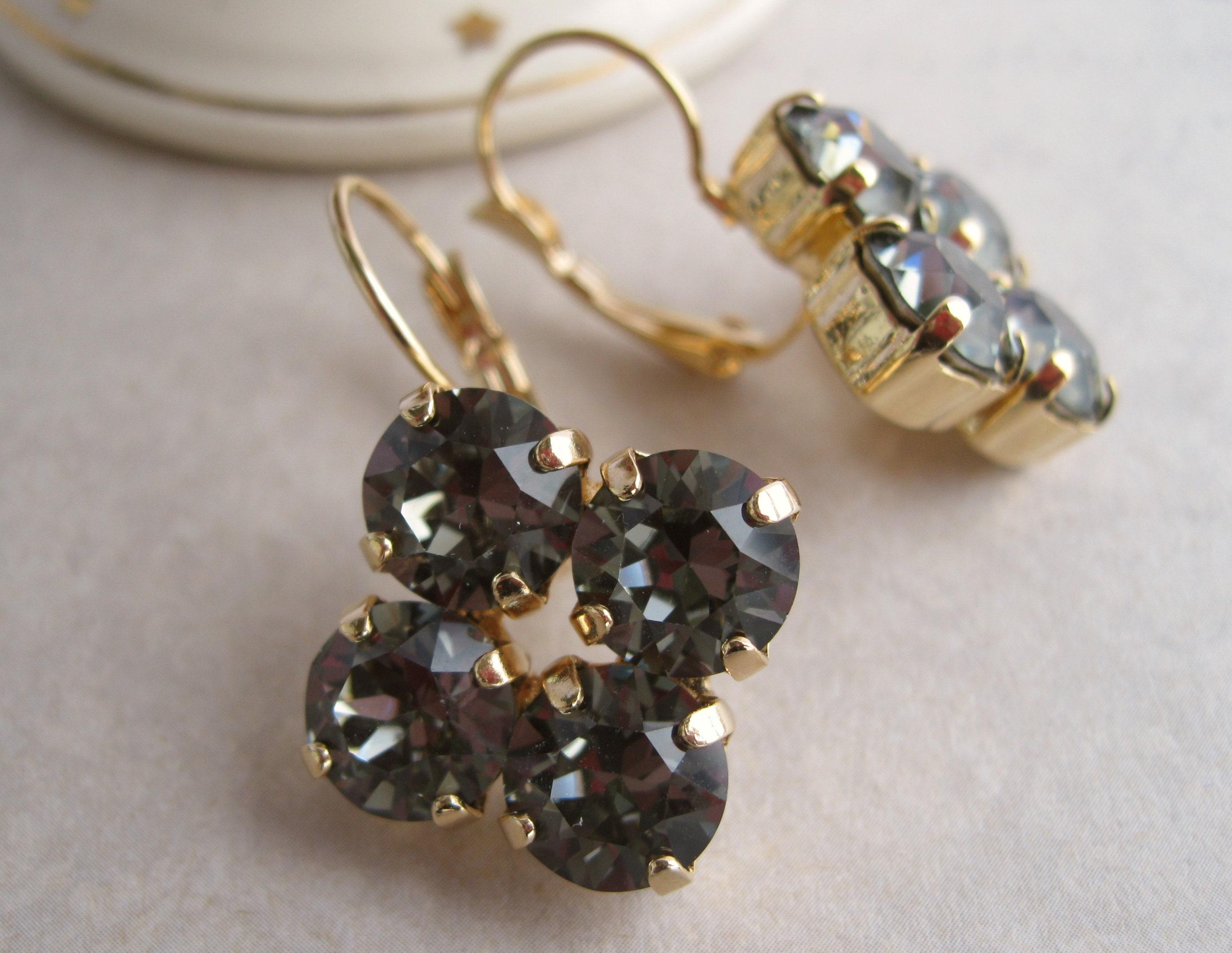 f60fdbc5c Gold and Black Rhinestone Earrings Swarovski crystals Black Diamond  Bridesmaid Jewelry Art Deco Statement Jewelry Leverback Nickel free