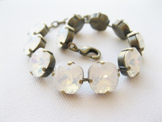 White Opal Tennis Bracelet Crystal Wedding Bridal Jewelry Chunky Modern Bracelet Swarovski Elements For the Bride Antiqued Brass